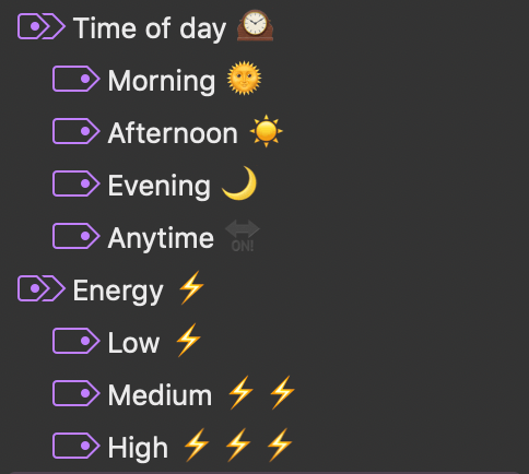 Energy level and time of day tags.