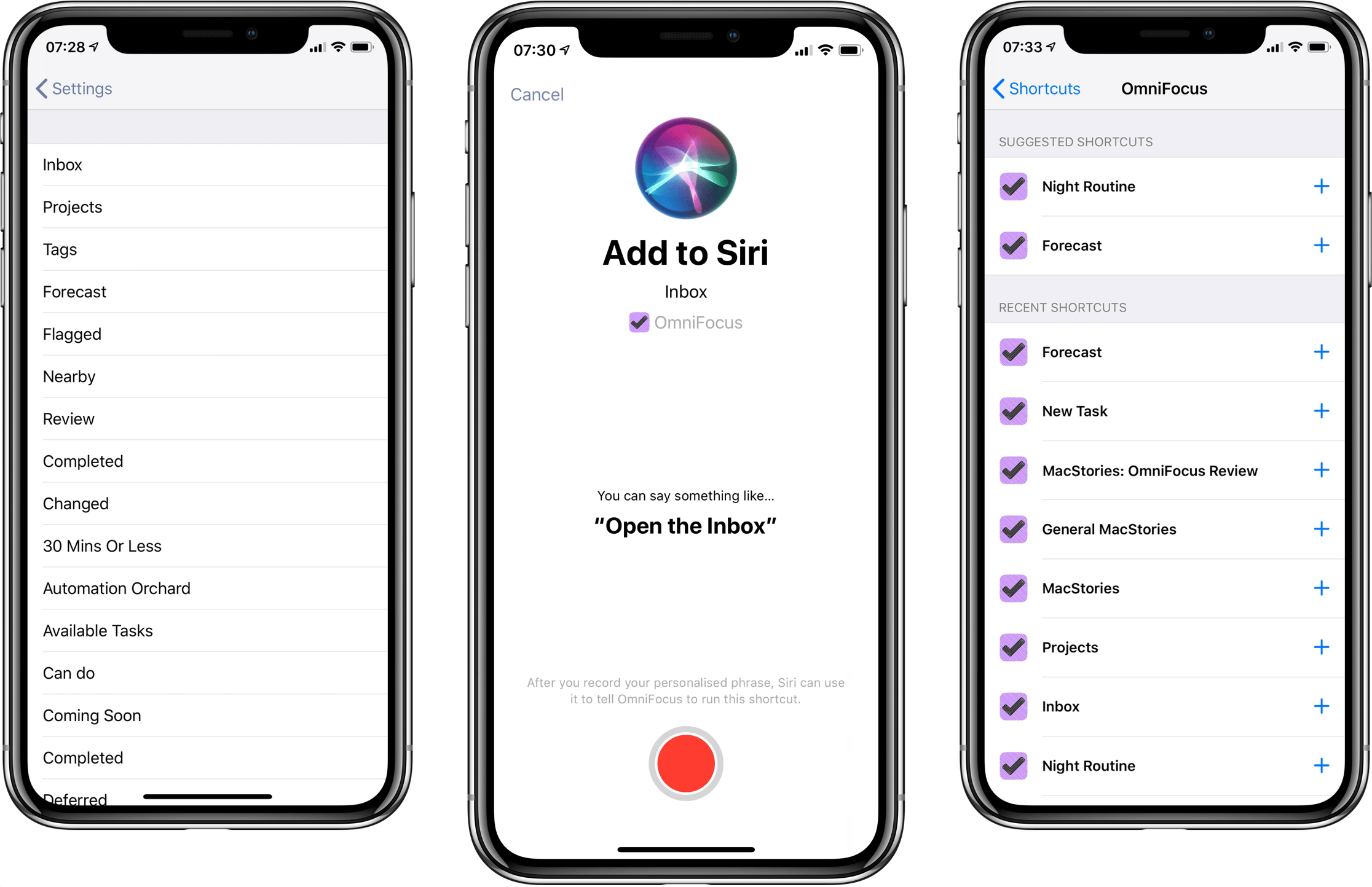 Siri Shortcuts in OmniFocus 3.1 for iOS.